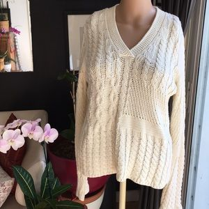 Vintage Off White Fisherman Cable Knit Sweater